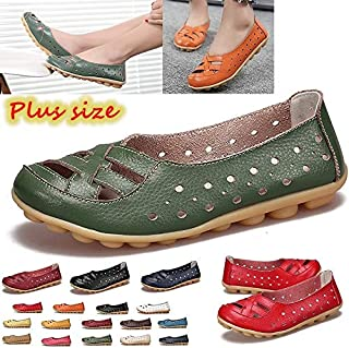 Size 35-44 Genuine Leather Large Size Hollow Breathable Shoes Flat Loafers Mother Shoes Ladies Shoes Flache Schuhe Der Frauen Chaussures Plates Pour Femmes(Orange,10)