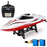 INTEY RC Racing Boats 17 Inches Large Double Waterproof Remote Control Speed Boat with Fine Tuning Capsize Recovery for Kids and Adults Contain 2 Batteries