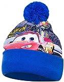 Coole-Fun-T-Shirts Cars Mütze Kinder Original Lightning McQueen Pudelmütze Wintermütze Jungen blau Gr. 52 und 54 cm (54)