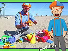 Blippi on the Beach with Sand Toys - Learning Colors for Children