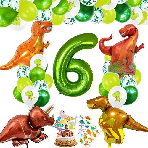 Bluelves Ballon Anniversaire Dinosaure 6, Dinosaure Décorations 6 Anniversaire, Ballon 6 an, Ballon Numéro 6 Vert, Ballon 6 Anniversaire Helium, Ballon Anniversaire 6 Ans Garcon, Ballon Chiffre 6