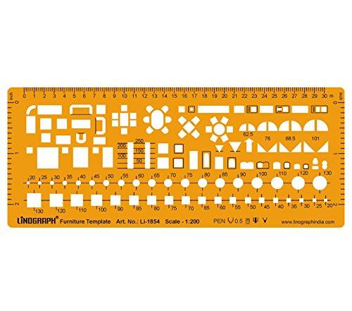 Möbel Symbol Entwurf und Design-Vorlage Stencil Symbole der Architektur Technische Zeichnung im Maßstab 1: 200 Template