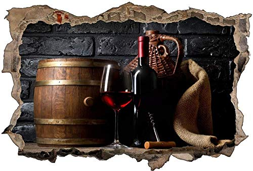 Tatuaje de pared en 3D agujero de la pared Sticker Pegatina Adhesivo Calcomanía Decoración para dormitorio o la sala de estar,Barril de botella de copa de vino 60x90cm