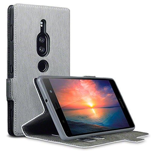 TERRAPIN, Kompatibel mit Sony Xperia XZ2 Premium Hülle, Leder Tasche Hülle Hülle im Bookstyle mit Standfunktion Kartenfächer - Grau