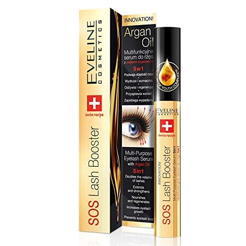 Eveline Cosmetics SOS Wimpern Serum für Wimpernverlängerung | 10 ML | Verdickt und Regeneriert | Schnell Wachstum | Verdoppeln die Dichte | mit Arganöl | Dermatologisch Getestet