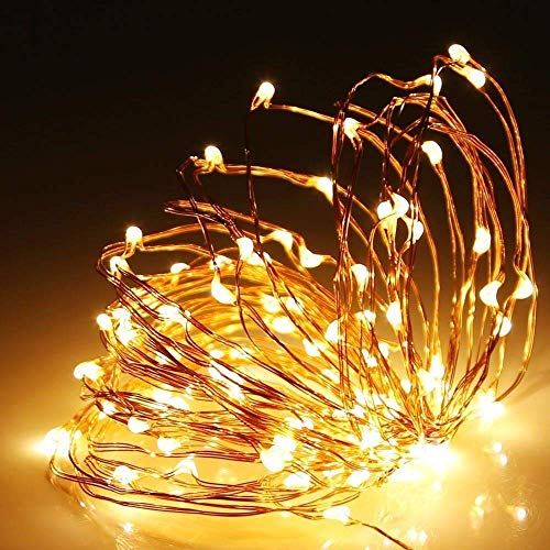 Shatchi 4m Long 40 Warm White LED Micro Rice Gold Copper Wire Indoor Battery Operated Firefly String Fairy Lights Bunch Wedding Party Christmas Decorations Home Bedroom Décor