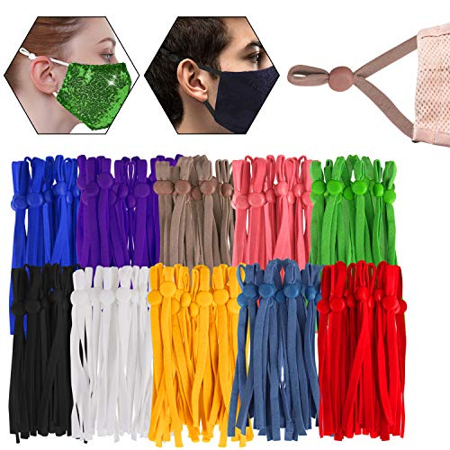 240 Pieces 10 Assorted Colors Elastic Ear Loops with Adjustable Buckle Elastic Bands String Cord Straps for DIY Sewing Crafts Multi Colored
