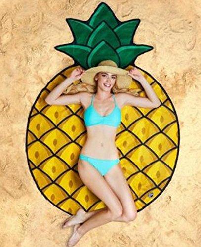 TECH-FUN - Toalla de playa para comida de frutas frescas de verano, toalla de playa, protector solar, toalla deportiva/piscina, Piña, 150*150CM