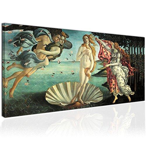 Topquadro XXL Wandbild Leinwandbild 100x50cm, Die Geburt der Venus, Göttin der Liebe und Schönheit, Renaissance - Botticelli - Panoramabild Keilrahmenbild, Bild auf Leinwand - Einteilig