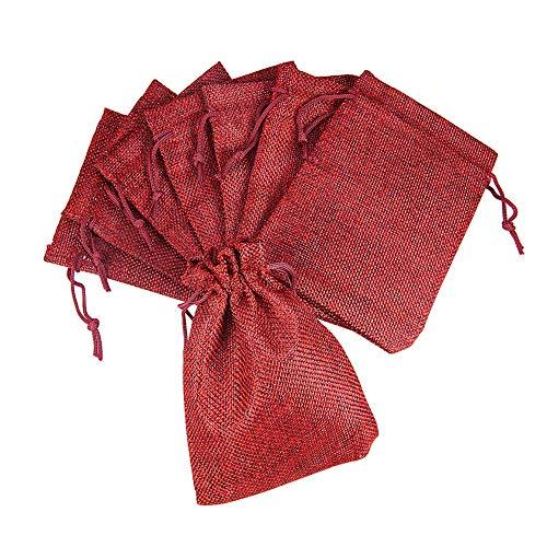 PandaHall - Packung mit 100 Beuteln/Taschen Leinen/Hanf mit Schnur in Hellrosa Farbe 18x13 cm Rouge...