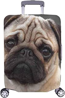 FOLPPLY Cute Pug Puppy Dog Pattern Luggage Cover Baggage Suitcase Travel Protector Fit for 18-32 Inch