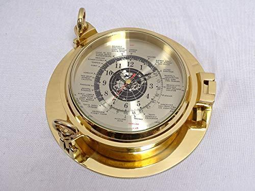 Luxe Wereld Klok, Schiffs- Portholes Horloge Gepolijst Messing Ø 22 CM