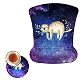 Mouse Pad with Wrist Support Gel Ergonomic Gaming Mousepad with Wrist Rest for Laptop Computer Home Office Working Galaxy Sloth Mouse Mat + A Cute Coffee Pad