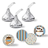 """Milk and Cookies Cookie Jar Birthday Party Kiss Sticker Labels, 300 Party Circle Sticker sized 0.75"""" for Chocolate Drop Kisses by AmandaCreation, Great for Party Favors, Envelope Seals & Goodie Bags"""