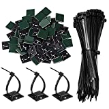 100 Pack of Adhesive Mounts Self Adhesive Cable Tie Base Holders with Black Self Locking Nylon Zip Ties(3x150mm) for DIY, Home,Office and Workshop