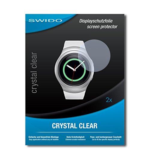 SWIDO Schutzfolie für Samsung Gear S2 Classic [2 Stück] Kristall-Klar, Hoher Festigkeitgrad, Schutz vor Öl, Staub & Kratzer/Glasfolie, Bildschirmschutz, Bildschirmschutzfolie, Panzerglas-Folie