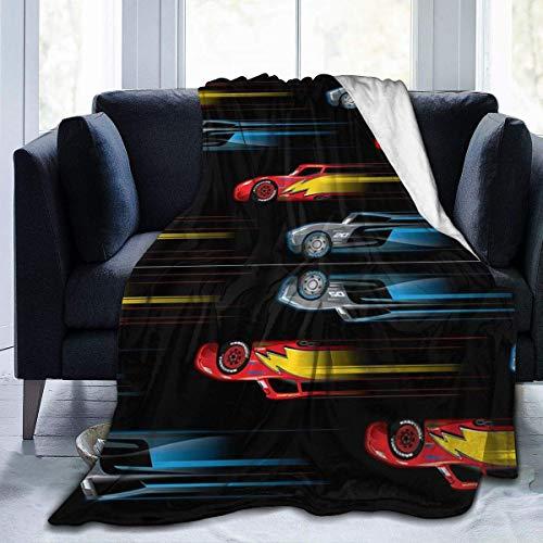 AEMAPE Manta para el hogar Speed Cars, Manta antiestática para la Siesta, Manta de Lana, Mantas térmicas para Dormir para sofá Cama, sofá de 50x40 Pulgadas