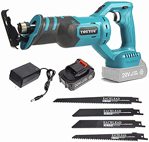 Reciprocating Saw Cordless, YOVYOV 20V Reciprocating Saw with Battery and Charger Included, 1-1/8