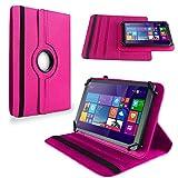 NAUC Tasche Hülle f Trekstor SurfTab wintron 10.1 Pure Tablet Schutzhülle Hülle Cover, Farben:Pink