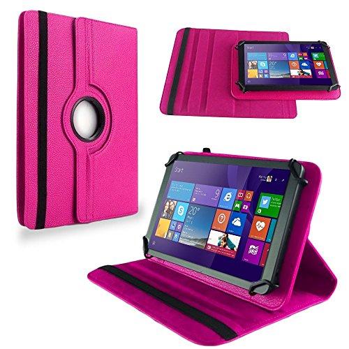 NAUC Tasche Hülle f TrekStor SurfTab Twin 10.1 Tablet Schutzhülle Hülle Schutz Cover, Farben:Pink
