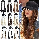 Peluca de extensión de cabello Gorra de béisbol negra Sombrero Extensiones de cabello Pelucas de cabello 45 cm de largo Piezas de cabello ondulado de maíz