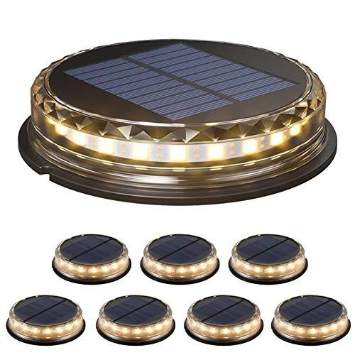Galapare Luces solares de Suelo, Luz cálida Solar al Aire Libre IP68 Luces subterráneas Impermeables Lawn Lámparas de Suelo Iluminación para Paisaje Driveway Patios Caminos