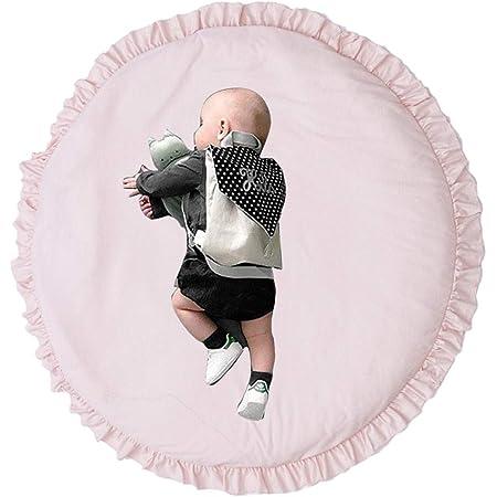 Leikance Tapis de jeu pour bébé - Rond à volants - En coton doux - Décoration de chambre d'enfant - 100 cm