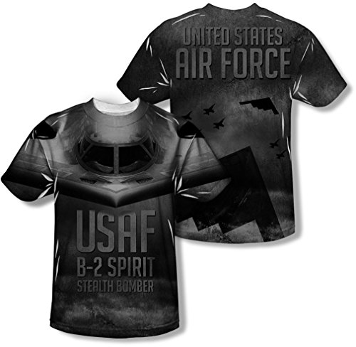 Air Force - - T-shirt pour homme furtif (Front / Back Imprimer), X-Large, Sublimate White