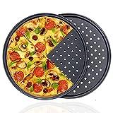 2 Piezas Bandeja para Pizza, Bandejas pizza antiadherente, Acero al Carbono Bandeja para Pizza, Ideal para Hornear en Casa y en Fiestas, Se Utiliza para Hacer Una Variedad de Pizzas, Pasteles