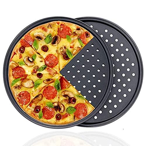 2 Pezzi Antiaderente Teglia per Pizza, Rotonda Teglia per Pizza, Acciaio al Carbonio Teglia per Pizza, Ottimo per Uso Domestico E per Feste, Utilizzato per Preparare Una Varietà di Pizze, Torte