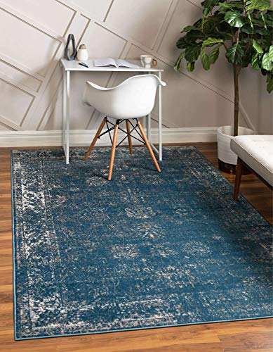 Unique Loom Sofia Collection Traditional Vintage Area Rug, 4' x 6', Blue/Ivory