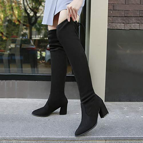Shukun enkellaarsjes laarzen kinderMartin laarzen met hoge hakken dik met enkele laarzen, veelzijdig katoen, veters zwart slanke laarzen