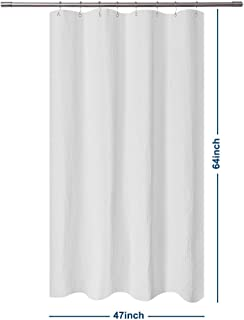 Barossa Design RV Shower Curtain Waffle Weave 47 x 64 Inches - 230GSM Heavy Fabric, Water Repellent, Washable, White, 47x64