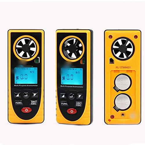 SUIWO Anémomètre Numérique Anémomètre numérique portable Vitesse du vent huit mètres jauge-en-un multi-fonction de la température et l'humidité froide Point de rosée Illumination Altitude Pression atm