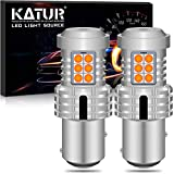 KATUR 1157 BAY15D P21/5W 1034 7528 LED Bulbs Extremely Bright 12pcs 3030 & 8pcs 3020 Chips Canbus Error Free Replace Turn Signal Reverse Brake Tail Parking Stop Lights, Amber Yellow(Pack of 2)