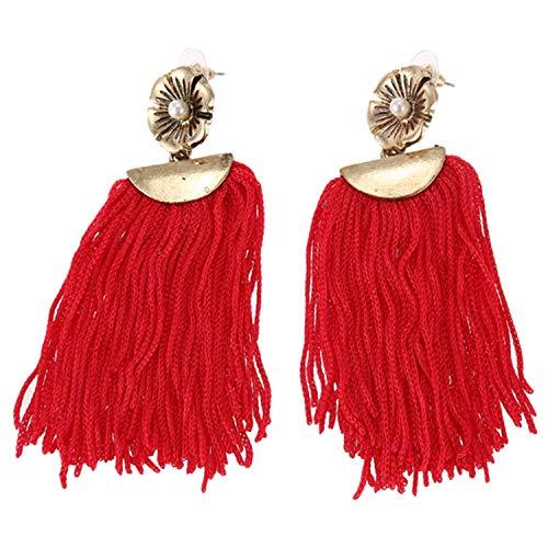 Fransande Pendientes largos de perlas con flecos para mujer, color rojo