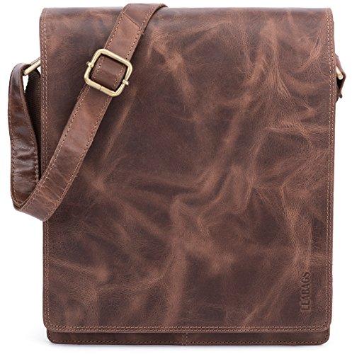 LEABAGS London Leder-Umhängetasche I Laptoptasche bis 13 Zoll I Messenger Bag aus echtem Büffel-Leder im Vintage Look I Schultertasche I Arbeitstasche I 26x8x31cm (Crazyvinkat)