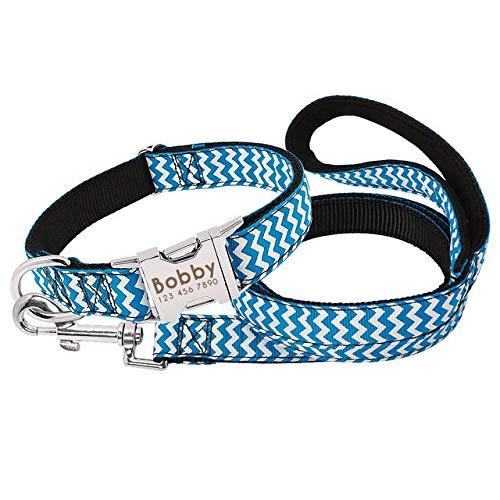 WEIZI Collar personalizado de nailon para perro con placa de identificación personalizada, collar de etiqueta de mascota grabada, ajustable para perros medianos y grandes (color: azul, tamaño: M)