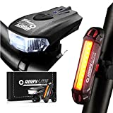 RUBY LITE Bike Light Set, USB Rechargeable LED -Runtime 16+hours - Powerful 400 Lumen Front Headlight & 100LM...