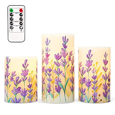 """SILVERSTRO LED Flameless Candles Flickering with Remote, D3""""x H4""""5""""6"""", Love Theme Lavender Serie Glass Battery Candles, Real Wax Pillar Candles for Bedroom Party Christmas Decor by Silverstro"""