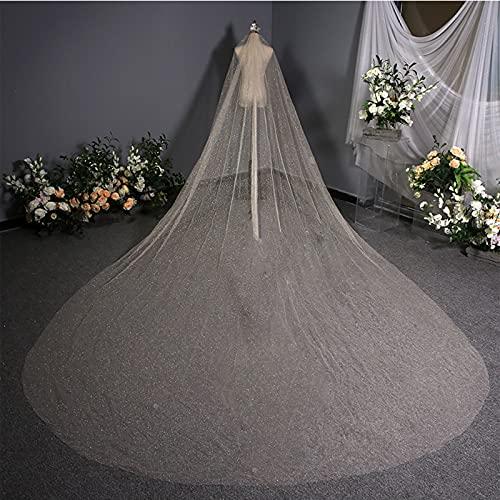 ZYQDRZ Modischer Und Glänzender Langer Hochzeitsschleier, Neues 3,8 Meter Langes Hochzeitskleid, Exquisiter Brautkopfschmuck Aus Koreanischer Spitze,A
