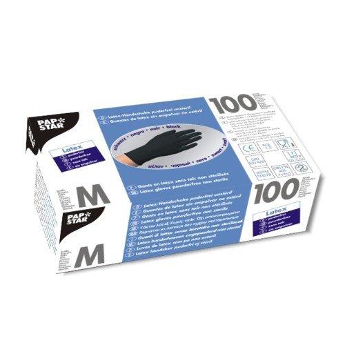 Handschuhe, Latex puderfrei schwarz Größe M, chloriniert, mikrogeraut Einweghandschuhe-Laborhandschuhe. Menge: 1000 St