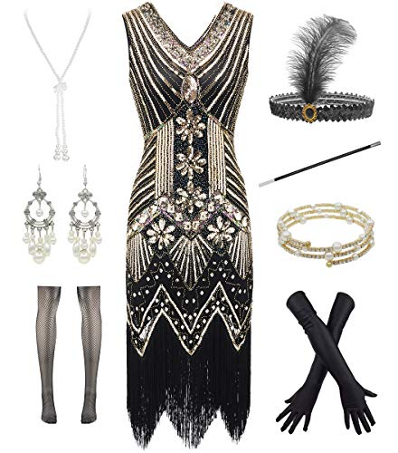 1920s Gatsby V Neck Flapper Fringed Dress for Cocktail W/ 20s Feather Accessories (XL, Black Gold)