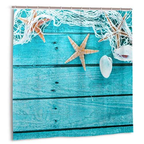 DmiGo Cortina de baño,Borde automático con Red de Pesca Conchas Marinas y Estrellas de mar Colorido Azul Turquesa Pintado de Madera Boa de Tela Decoración de baño con Ganchos 180cmx180cm