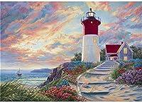 NC68 Diy 5Dフルドリルダイヤモンドペインティングナンバーキット大人と初心者海辺の灯台の風景クリスタルダイヤモンドペインティングアート家の壁の装飾に最適日常生活アートペインティング12x16インチ(フレームレス)
