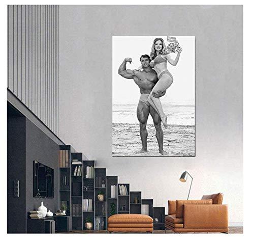 Vscdye Arnold Schwarzenegger Poster Bodybuilding Kunst Gym Poster Sport Bild Fitness Gemälde Leinwand Home Gym Dekor -60x90cm Kein Rahmen