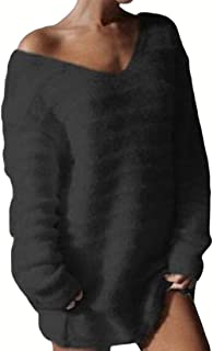 Womens V Neck Pullover Long Sleeve Fashion Sexy Solid Color Shaggy Knitted Loose Sweaters