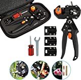 Toolwiz Professional Grafting Tools Pruner Kit Garden Fruit Tree Grafting Shears 2 in 1 Gardening Scissors Shear Cutting Tool with Replacement Blades for Plant Branch Stem Vine Fruit Tree Grafting