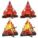 Angoily 4 Piezas de Cartón Decorativo en 3D Centro de Fogón Decoraciones de Papel de Llama Llamas Artificiales Decoración de Fiesta de Navidad de Halloween