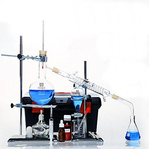 Home Distiller Distilling to Making Your Own Essential Oil, Moonshine, Alcohol Distiller Chemistry Lab Glassware Kit,Glass Distilling,Distillation Apparatus 22pcs Kit, 500 ML